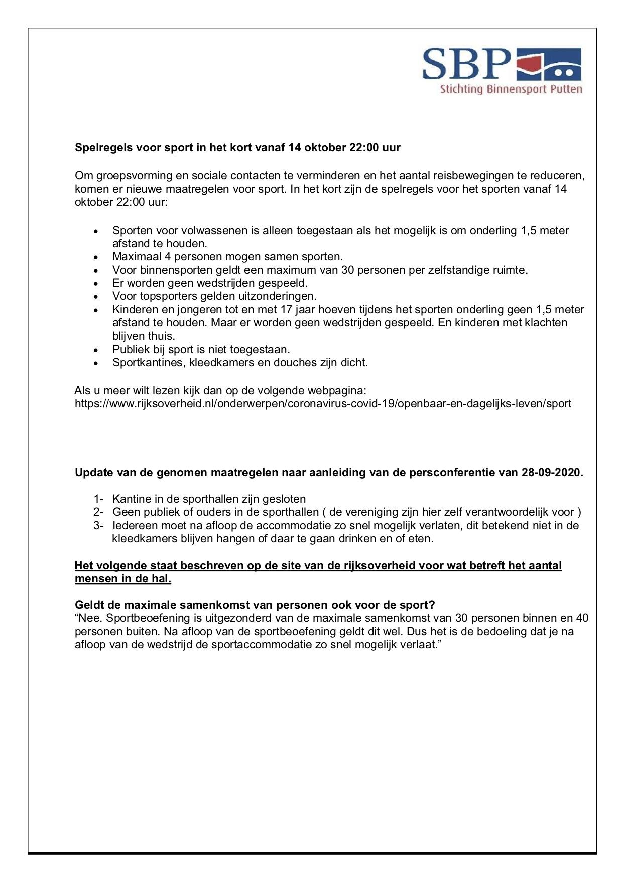 COVID-19 protocol per 14 oktober 2020